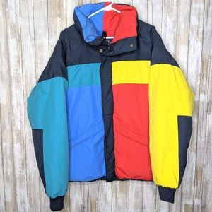 Vtg Woolrich Down Puffy Colorblock Coat XL